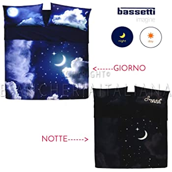 Copripiumino Pioggia Di Stelle.Copripiumino Matrimoniale Bassetti Imagine Sweet Moon Amazon It