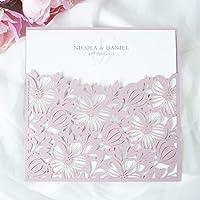 Partecipazioni matrimonio taglio laser fai da te inviti matrimonio carta rosa nebbiosa con busta - campione prestampato…