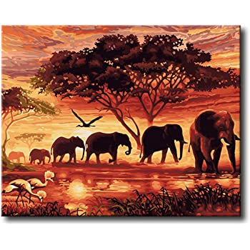 Framed Canvas Shukqueen Diy Oil Painting Acrylic Painting-Colorful Elephant 16X20 Inch Adults Paint by Number Kits