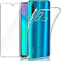 Leathlux Coque Huawei P30 Lite/ P30 Lite New Edition Transparente + Verre trempé Protection écran,Souple Silicone étui Protecteur Bumper Housse Clair Doux TPU Gel Case Cover Coque pour Huawei P30 Lite