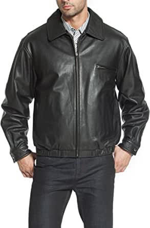 BGSD Men's Aaron Classic Cowhide Leather Bomber Jacket (Regular and Big & Tall)