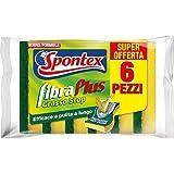 Spontex Plus X6, FibraPlus, Spugna Anti Grasso, con Fibra Abrasiva, 1 Confezione da 6 Pezzi, Poliuretano, Giallo/Verde, N.A