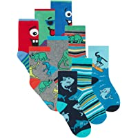 Metzuyan Boys Novelty Cotton Socks Dinosaurs Skulls Sharks Camo Camuflage Pizza Hotdog Dino 6-8.5 9-12 12.5-3.5