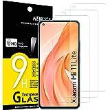 NEW'C 3-pack skärmskydd med Xiaomi Mi 11 Lite/Mi 11 Lite 5G–Härdat glas HD klar 9H hårdhet bubbelfritt