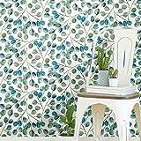 ورق جدران بتصميم Cat Coquillette Eucalyptus Teal and White Peel and Stick من RoomMates