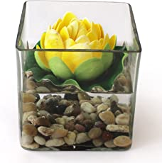 Tied Ribbons Square Glass Vessel with Faux Lotus and Natural Stones (12 cm x 12 cm x 12 cm), Multicolour