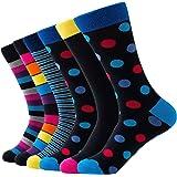 Relaxife Calcetines de hombre de negocios, de algodón, para traje, de color negro, multicolor, con diseño de rayas, 6 unidade