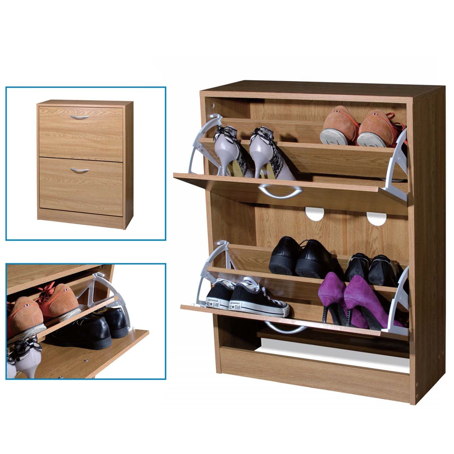 Top Home Solutions 2 Drawer Shoe Storage Cabinet Cupboard (Black ...