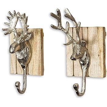 2er set wandhaken hirsch h x b 23x12cm edel holz metall. Black Bedroom Furniture Sets. Home Design Ideas