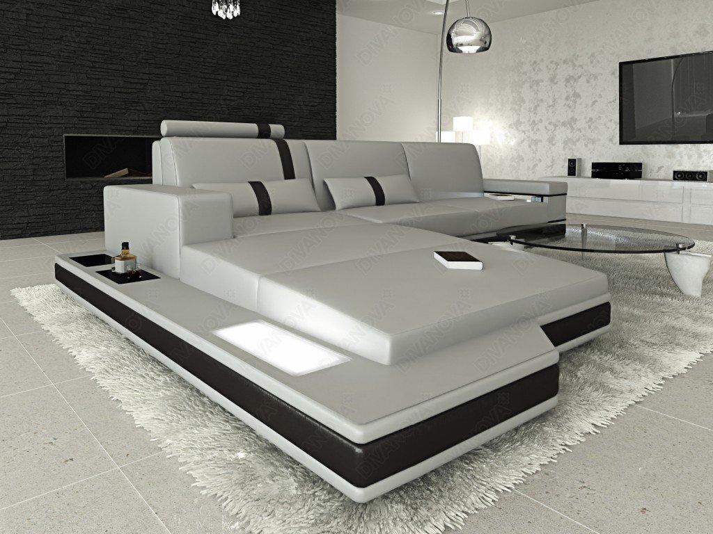 Divani ad angolo super moderno in pelle grigio chiaro spezzato nero.