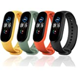 Monuary 4 Pieces Straps Compatible with Xiaomi Mi Band 5 / Amazfit Band 5, Colourful Replacement Bracelet in Anti-Lost Silico