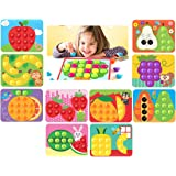 GoAppuGo Creative Activity Toys for 1 2 3 Year Old Boys Girls Kids, Match The Colors - 10 Fruits with 50+ Jumbo Buttons…