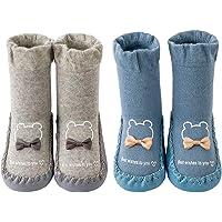 Juzzae Chaussettes mignonnes unisexes antidérapantes pour bébé garçon et fille - Chaussures de marche en coton…