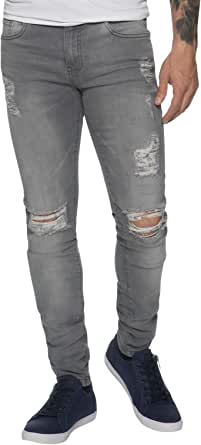 New Mens Skinny Jeans Ez383 Super Stretch Ripped Style Denim Pants Trousers