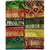 Adaa Women's Unstitched Jequard Multicolour Blouse Piece Pack Of 4. Each 80 cm With Heavy Border. Ethnic Wear_ Blouse Piece_M