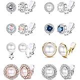 Yadoca 8 paia di orecchini a clip per donna Fashion Cubic Zirconia CZ Crystal Orecchini di perle d'acqua dolce ipoallergenici