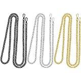 Homgaty - Set di 6 cinghie di ricambio a catenella per borsa a mano, catena di ricambio in metallo per pochette, 3 pezzi di c