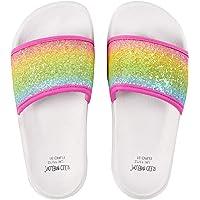 Metzuyan Girls Summer Sliders Slip on Rainbow Glitter Holographic Iridescent Lightweight Stock Garden Pool Beach Holiday…
