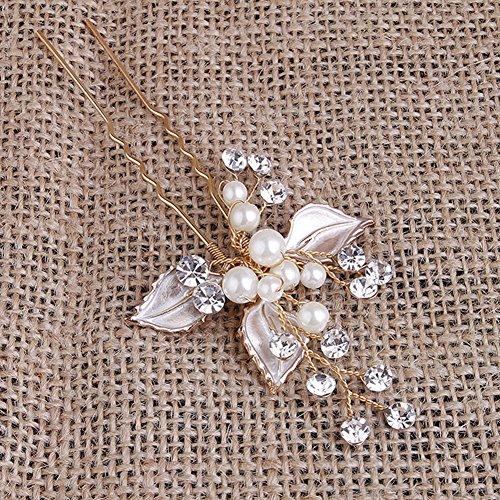 LIHI Damen Vintage Exklusive Perle Blatt Braut Haarbänder Stirnband Haarschmuck Hochzeit Haar wrap -