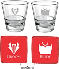 YaYa cafe Karwachauth Gifts Engraved Bride Groom Trousseau Couple Whiskey Glasses Set of 2 with Coasters