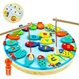 SooFam Magnetic Wooden Fishing Game for Toddlers, Preschool Alphabet Fish Catching Counting Board Games for 2 3 4 5 6 Year Ol