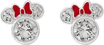 Disney Minnie Mouse - Orecchini a perno da donna, in argento Sterling con zirconia cubica e smalto rosso