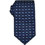 Remo Sartori - Elegante Cravatta Blu a Quadri in Seta Stampata, Made In Italy, Uomo