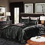 CoutureBridal Housse de Couette 220x240cm + 2 taie d'oreiller 65x65cm Noir Parures de lit Ado Adulte 2 Personne Satin la Soie