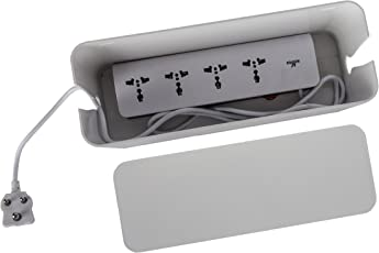 Tidy Up! Wire Bin with Spike Buster/ Power Strip/Surge Protector (White, 1012)