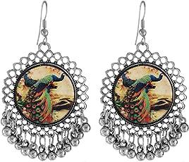 Cardinal Oxidised Peacock Design Afghani Latest Design Stylish Traditional Hook Earring For Women/Girls