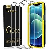 """iVoler [4-pack] Screen Protector Compatibel met iPhone 12 / iPhone 12 Pro (6,1""""), Gehard Glas Screenprotector met Uitlijning"""