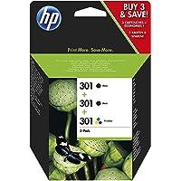 HP (E5Y87EE) 301 Pack de 3 Cartouches d'Encre Noir, Cyan, Magenta, Jaune