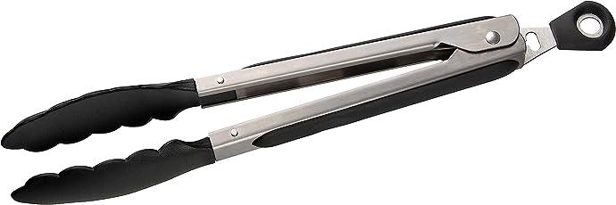 Fackelmann Mehrzweckzange 27 cm, Servierzange aus Edelstahl, Küchen- und Grillzange für beschichtete Töpfe und Pfannen (Farbe: Silber/Schwarz), Menge: 1 Stück
