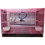 NATLIS Bird Cage, House for Parrot, Rabbit and Small Pets with 2 Feeding Cup and 1 Perch with Secure Lock(15 Inches, Pink)