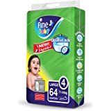 Fine Baby Diapers, DoubleLock Technology, Size 4, Large 7-14kg, Jumbo Pack, 64 Diaper Count