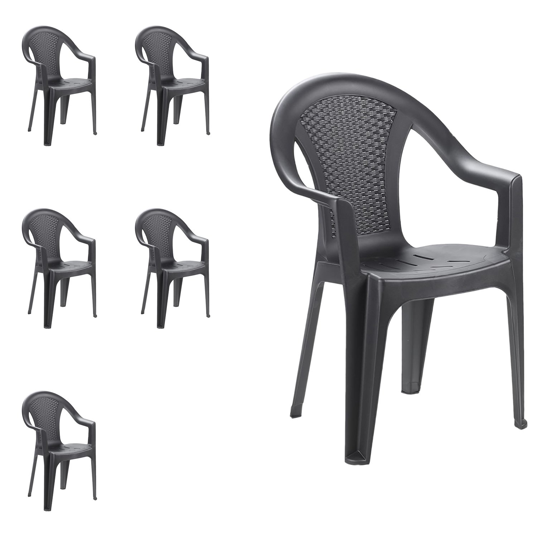 Sedie In Plastica Impilabili Da Giardino.Mojawo Set Di 6 Sedie Impilabili Da Giardino Da Balcone O Da Bar