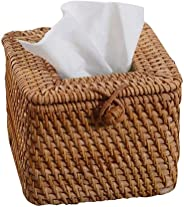 SCZJH Rattan Square Tissue Box Cover, Useful your bathrooms, bedrooms, kitchen, office, car or on your dining table