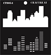 "CrafTreat Layered Stencil - Buildings 6""X6"""