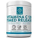 PIULIFE Vitamina C Timed Release ● 120 Compresse da 1000mg a Rilascio Prolungato ● Fortifica e rafforza il sistema immunitari