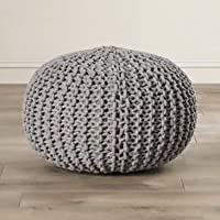 Jai Durga Home Furnishing 100% Knitted Cotton Pouf (16 X 16 X 16 inches) Best for Bedroom/Living Room/Kids Room