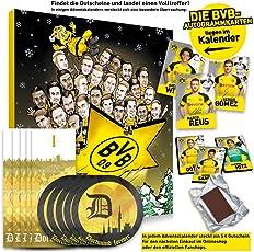 Borussia Dortmund Adventskalender XXL mit Autogrammkarten der BVB 09 Stars, 25 x Schokoladen Täfelchen und 5 gratis Aufkleber Forever Dortmund Plus 5 Lesezeichen I Love Dortmund