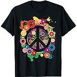 Signe de la paix fleurs colorées hippie rétro années 60 70 T-Shirt