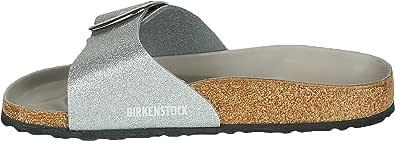 BIRKENSTOCK Damen Mules Madrid Big Buckle Birko-Flor Glitter Silver Hex Mud Sandale