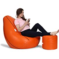 Urban Style Decore-Bean Bag with Footrest Cover XXXL , Orange with Black Piping