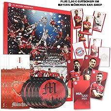 Bayern München Adventskalender 2018 XXL mit Autogrammkarten der FCB Stars, 25 x Schokoladen Täfelchen, Gutschein und 5 gratis Aufkleber Forever München Plus 5 Lesezeichen I Love München