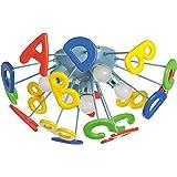 MW-Light 365013705 Plafonnier d'Enfant Original Design Moderne en Métal Bleu avec Alphabet en Acrylique Multicolore pour Cham