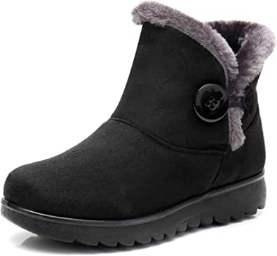 DimaiGlobal Women's Winter Boots Suede Ankle Boots Snow Boots Outdoor Walking Non-Slip Girls Winter Shoes Short Shaft Boots Warm Lined Snow Shoes