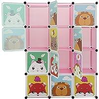HUOLE 12 Cube Armoire Penderie Motif de Animal Bouclé Storage Modulable Meuble Étagères de Rangement DIY avec Portes…
