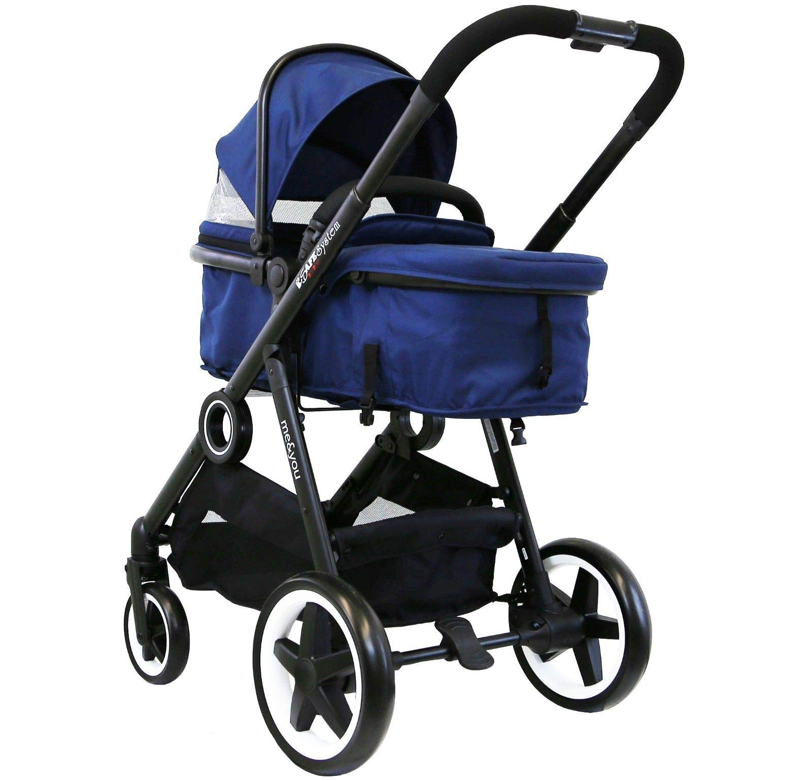 iSafe Me&You Inline Tandem Travel System with Second Seat & Rain Cover - Royal Blue iSafe Sleek & Eye Catching Matte Black Chassis, Weighing Only 16Kgs Easy One Second Fold, For Those Parents On The Go Soft Grip Extendable 3 Height Handle, To Suit Parents Of Any Height 5