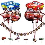Fiesta de cumpleaños para auto Suministros para niños con tema de vehículo FELIZ CUMPLEAÑOS Banner, Globos de aluminio para a